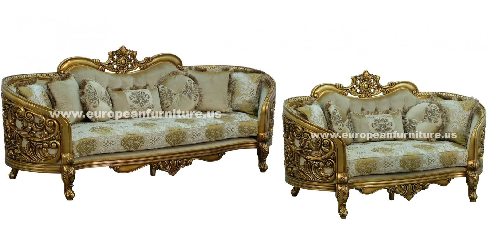 Classic, Traditional Beige, Bronze, Plum, Antique Fabric and Wood, Solid Hardwood Sofa Set 3016 BELLAGIO  by European Furniture