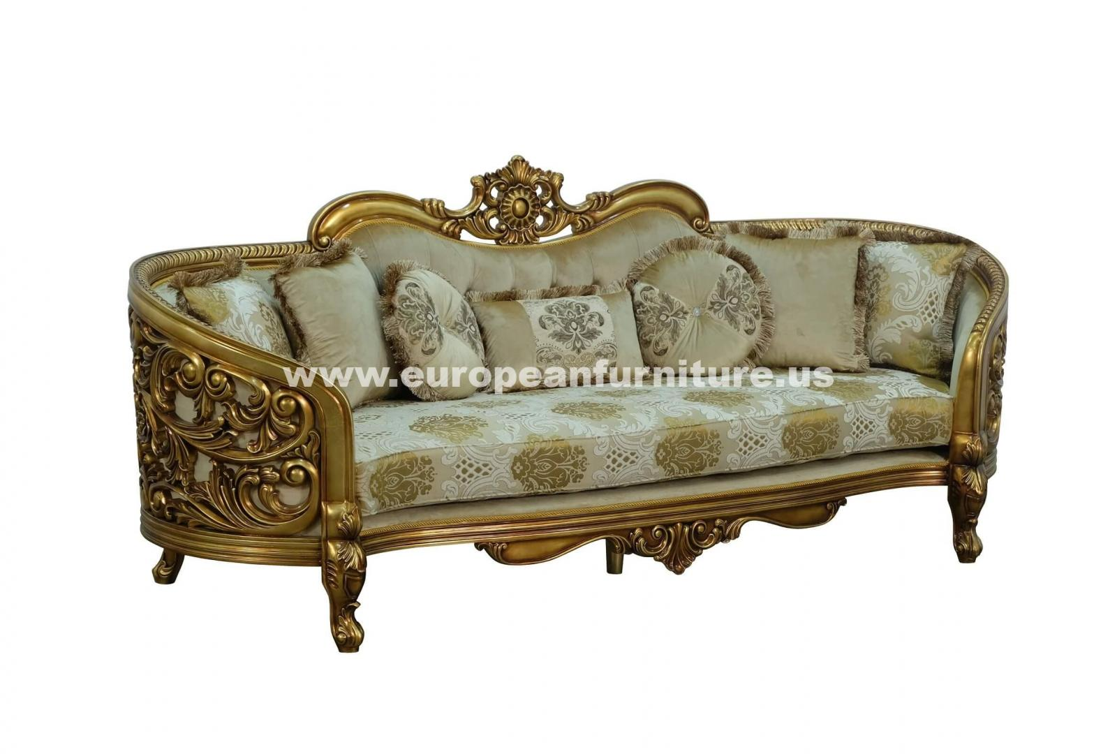Classic, Traditional Beige, Bronze, Antique Fabric and Wood, Solid Hardwood Sofa 3016 BELLAGIO  by European Furniture