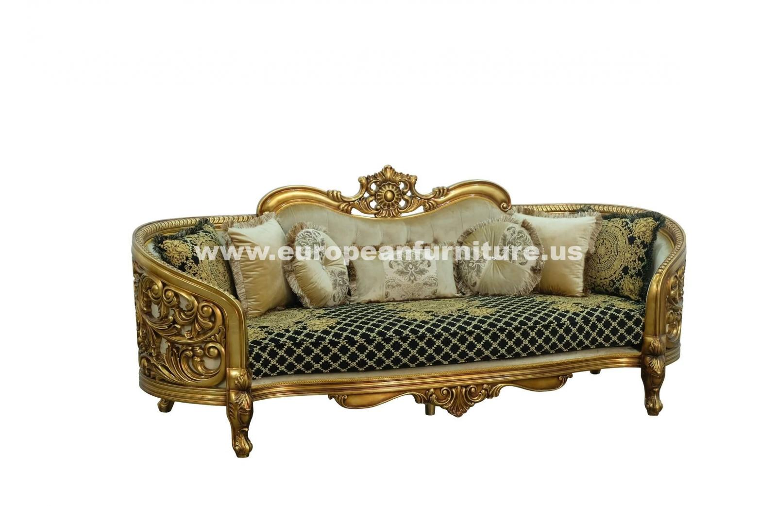 Classic, Traditional Beige, Bronze, Antique Fabric and Wood, Solid Hardwood Sofa 3018 BELLAGIO  by European Furniture