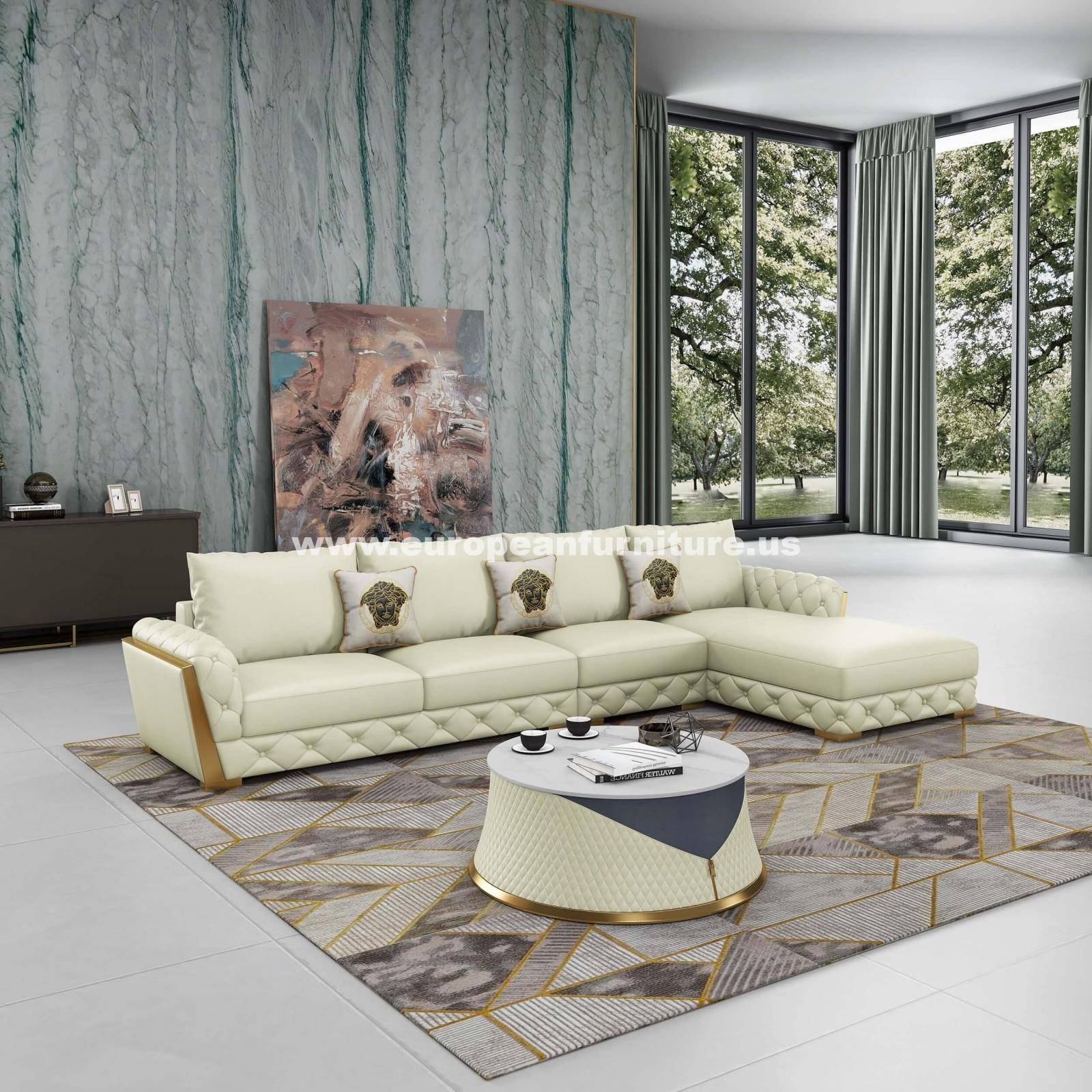 Contemporary, Modern Off-White Leather and Wood, Solid Hardwood 4-sear Sectional Sofa RHC CASTELLO by European Furniture