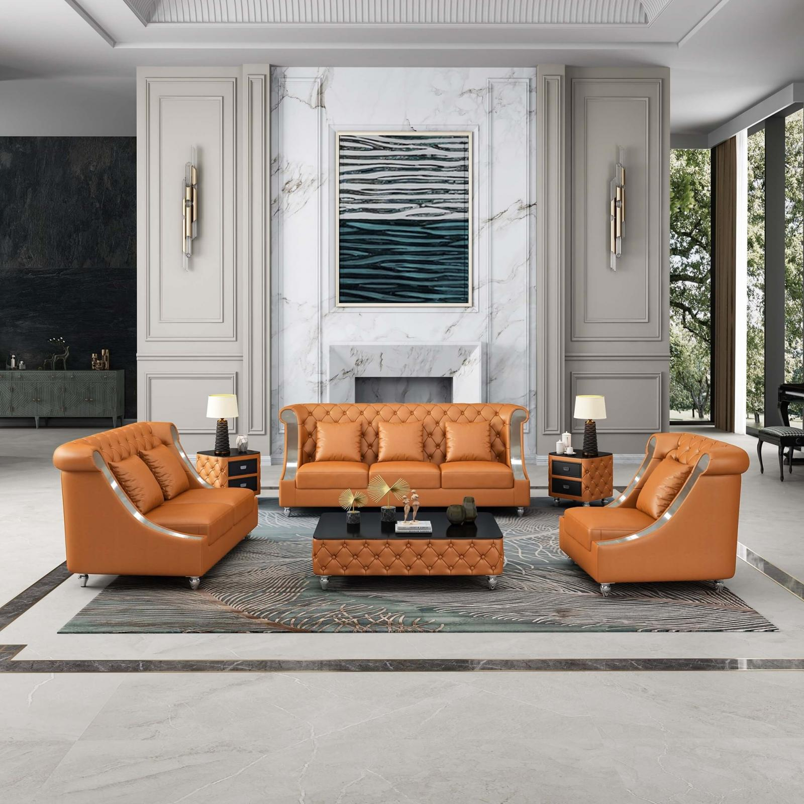 Contemporary, Modern Cognac Leather and Wood, Solid Hardwood Sofa Set 3 pcs MAYFAIR by European Furniture