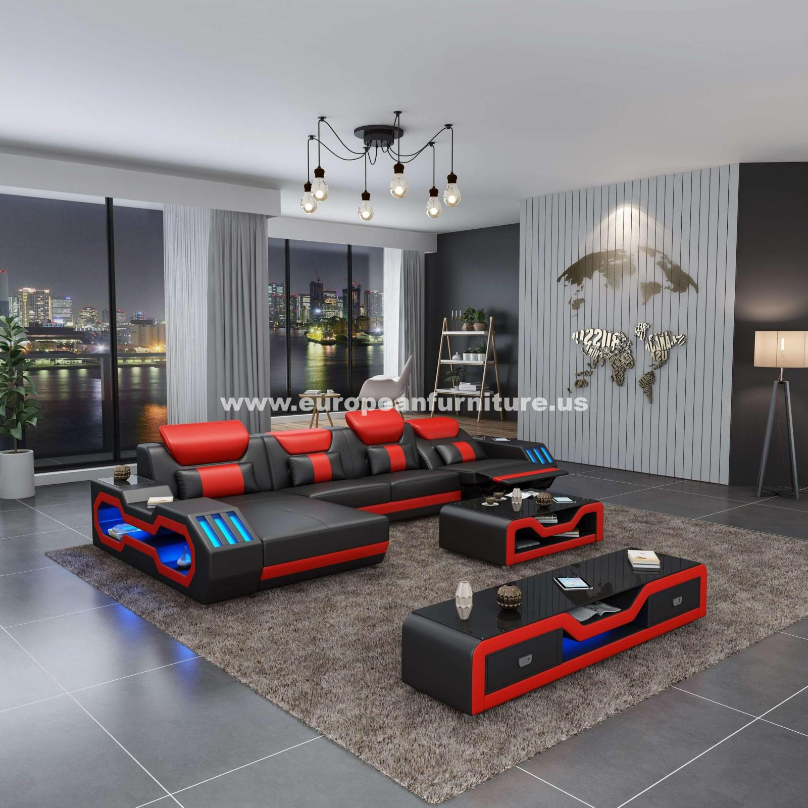 Contemporary, Modern Black, Red Italian Leather and Wood, Genuine leather, Solid Hardwood Reclining Sectional LHC STARFIGHTER by European Furniture