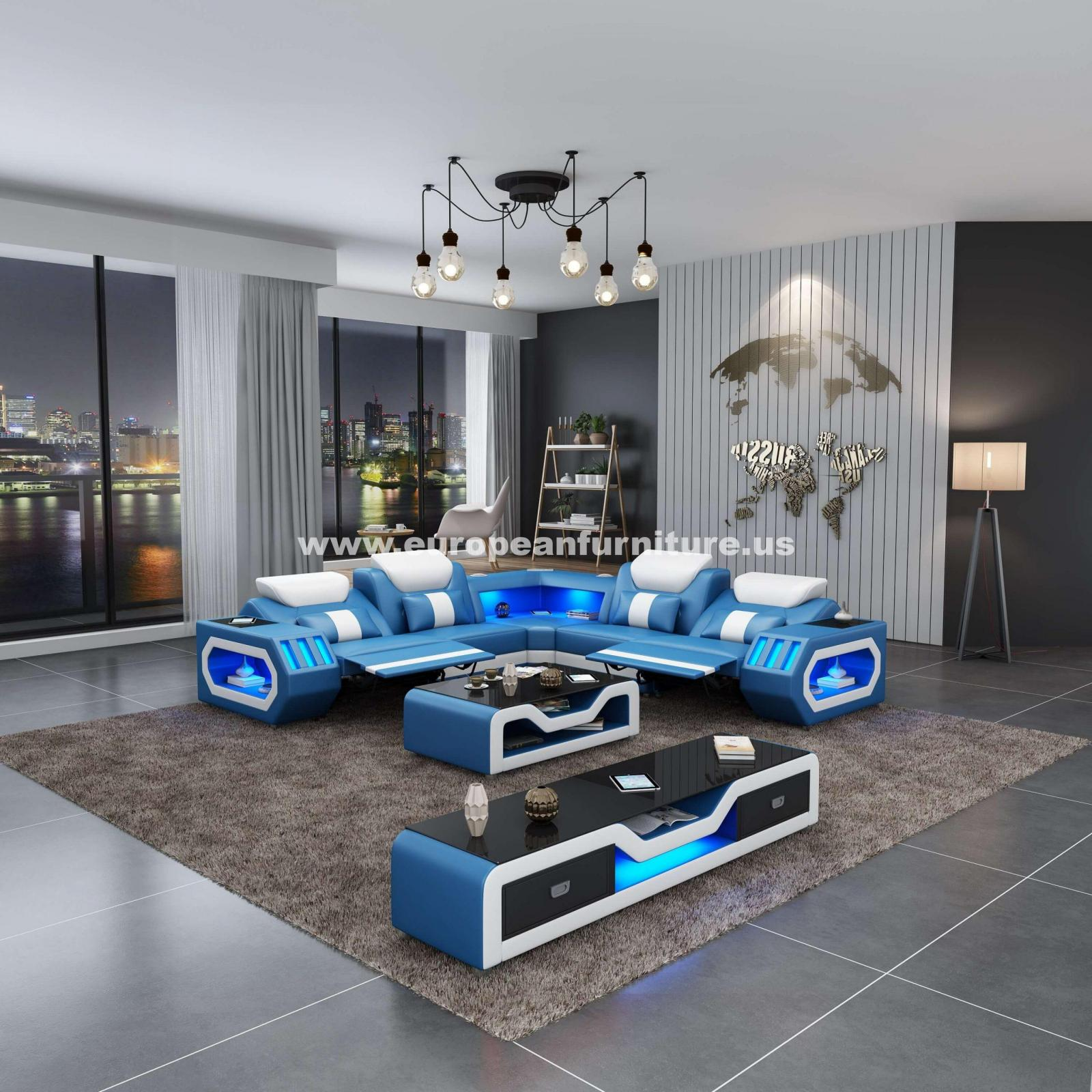 Contemporary, Modern Blue, White Italian Leather and Wood, Genuine leather, Solid Hardwood Reclining Sectional 1 pcs SPACESHIP by European Furniture