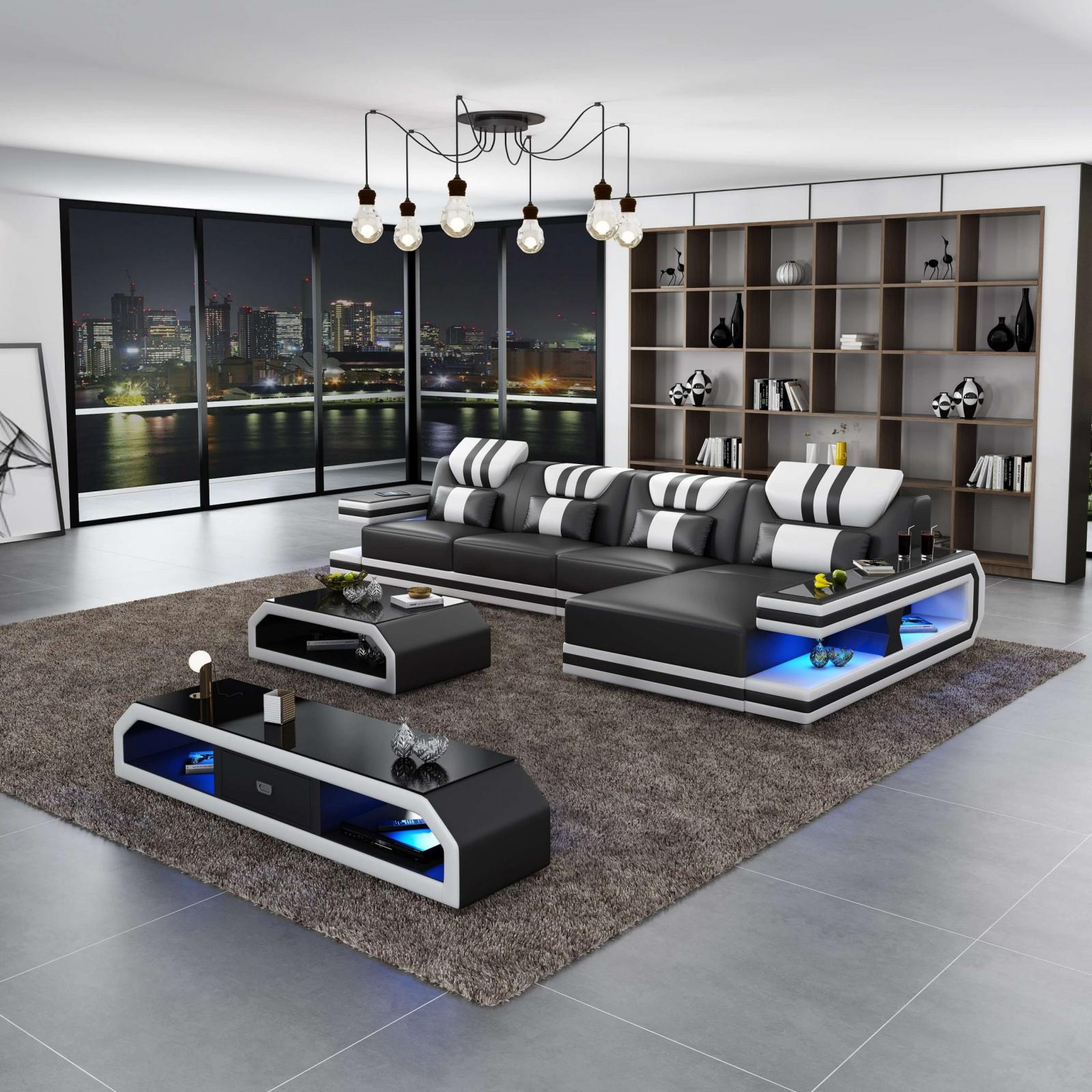 Contemporary, Modern Black, White Italian Leather and Wood, Genuine leather, Solid Hardwood Sectional Sofa RHC LIGHTSPEED by European Furniture