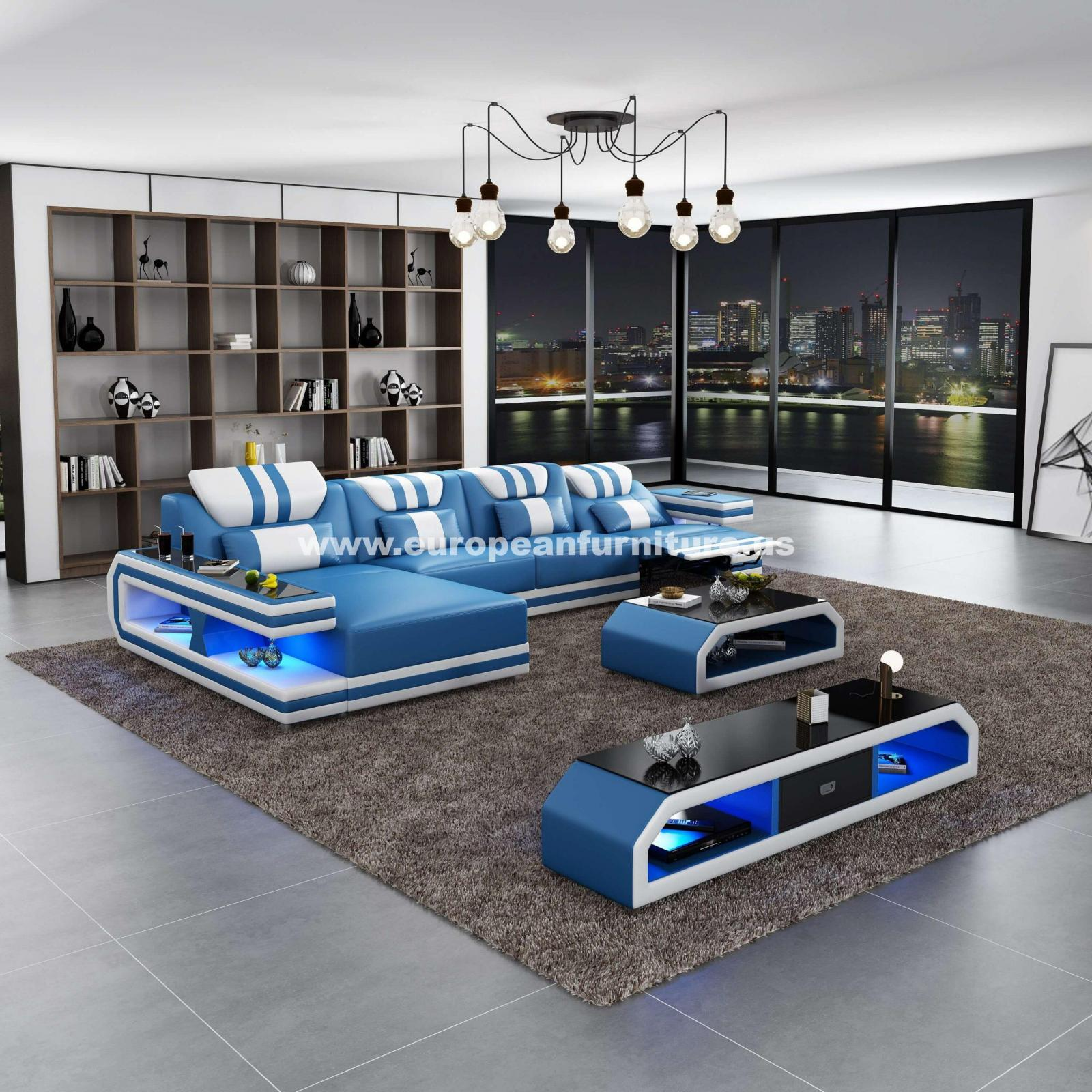 Contemporary, Modern Blue, White Italian Leather and Wood, Genuine leather, Solid Hardwood Reclining Sectional LHC LIGHTSPEED by European Furniture