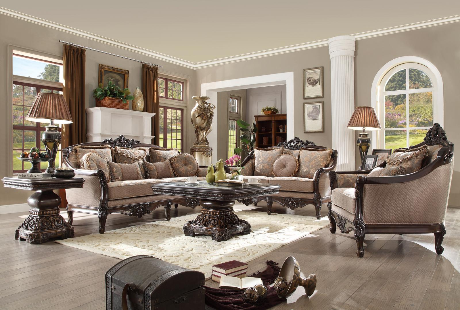 Traditional Luxury Hd-09 Sofa Loveseat and Chair Set 3Pcs by Homey Design