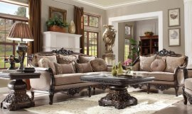 Traditional Hd-09 Sofa Loveseat and Coffee Table Set 3Pcs by Homey Design