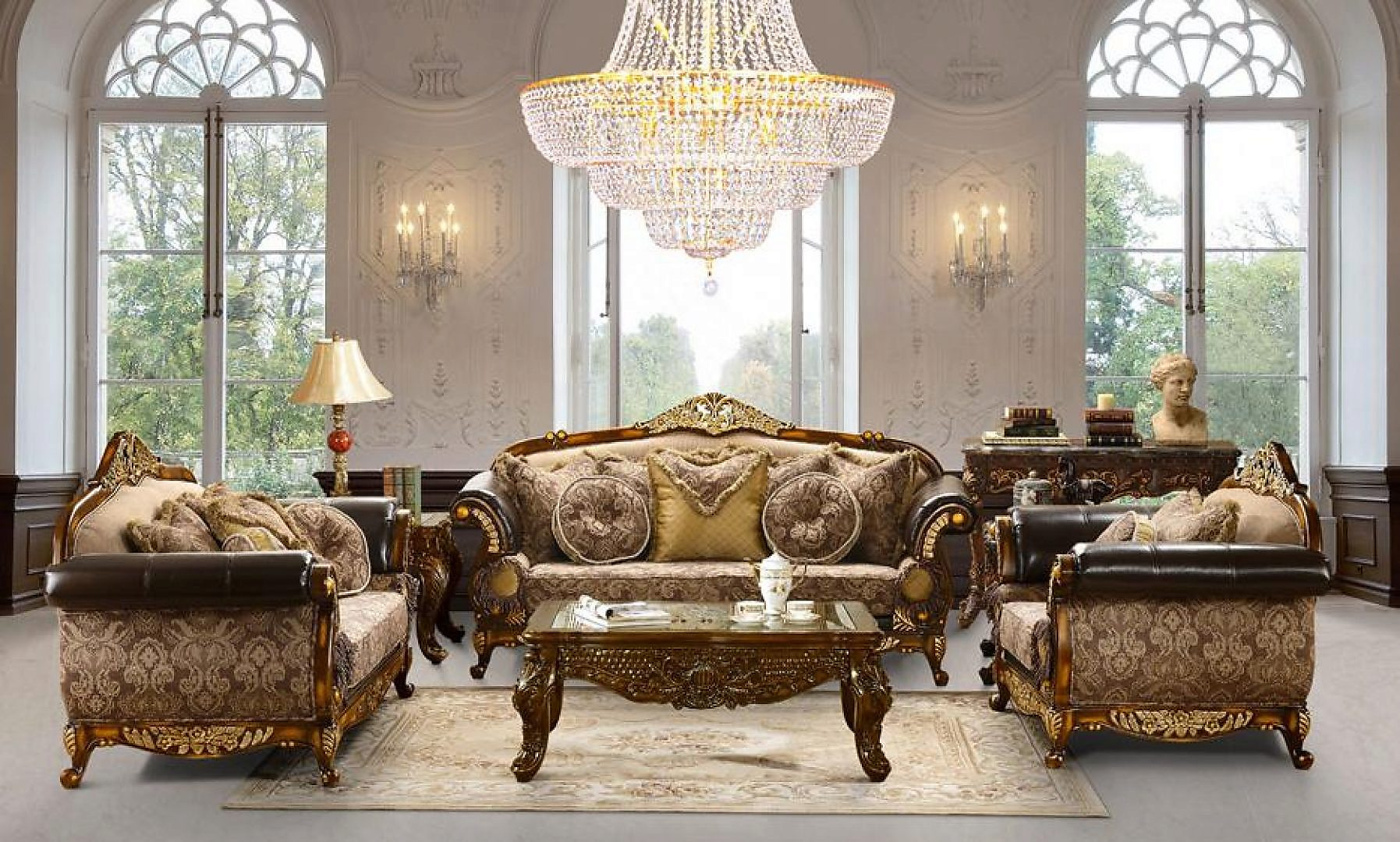 Traditional Victorian HD-26 Sofa Loveseat and Chair Set by Homey Design