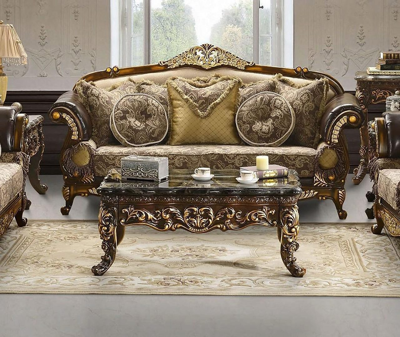 Traditional Victorian Royal HD-26 Loveseat in Espresso by Homey Design