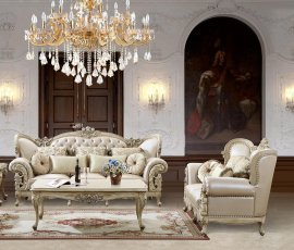 Traditional Antique HD-32 Sofa Loveseat and Table Set 3Pcs by Homey Design