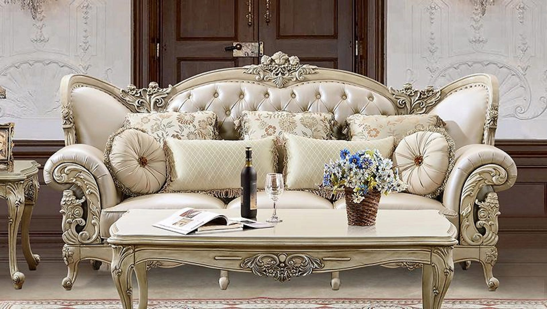 Traditional Antique Pearl HD-32 Sofa by Homey Design