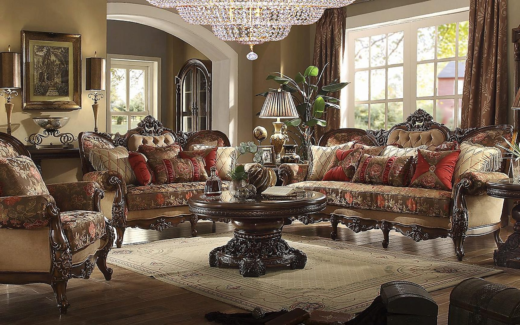 Traditional HD-39 Sofa Loveseat Chair Coffee Table End Table 5Pcs by Homey Design
