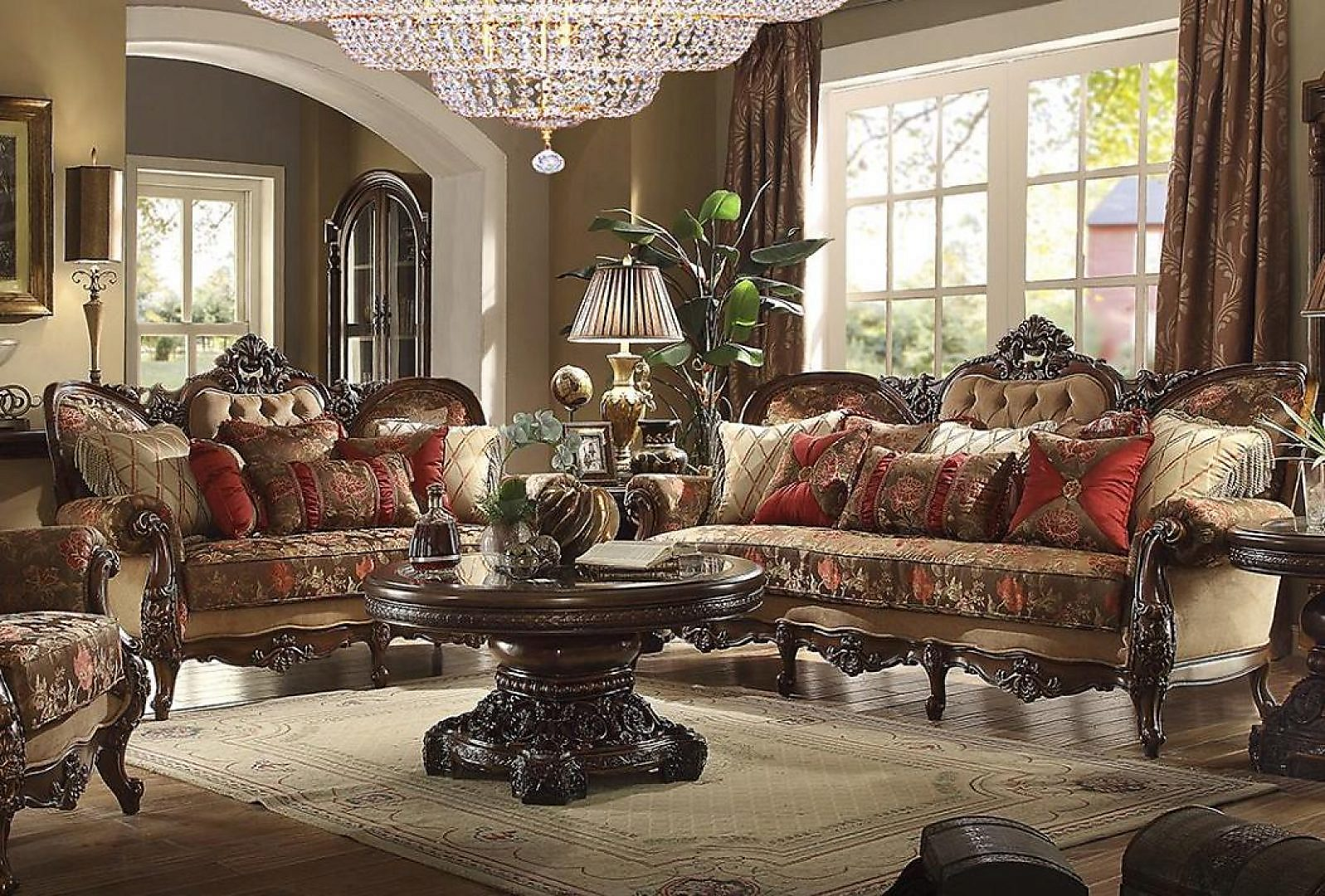 Traditional Victorian HD-39 Sofa and Loveseat Set 2Pcs by Homey Design