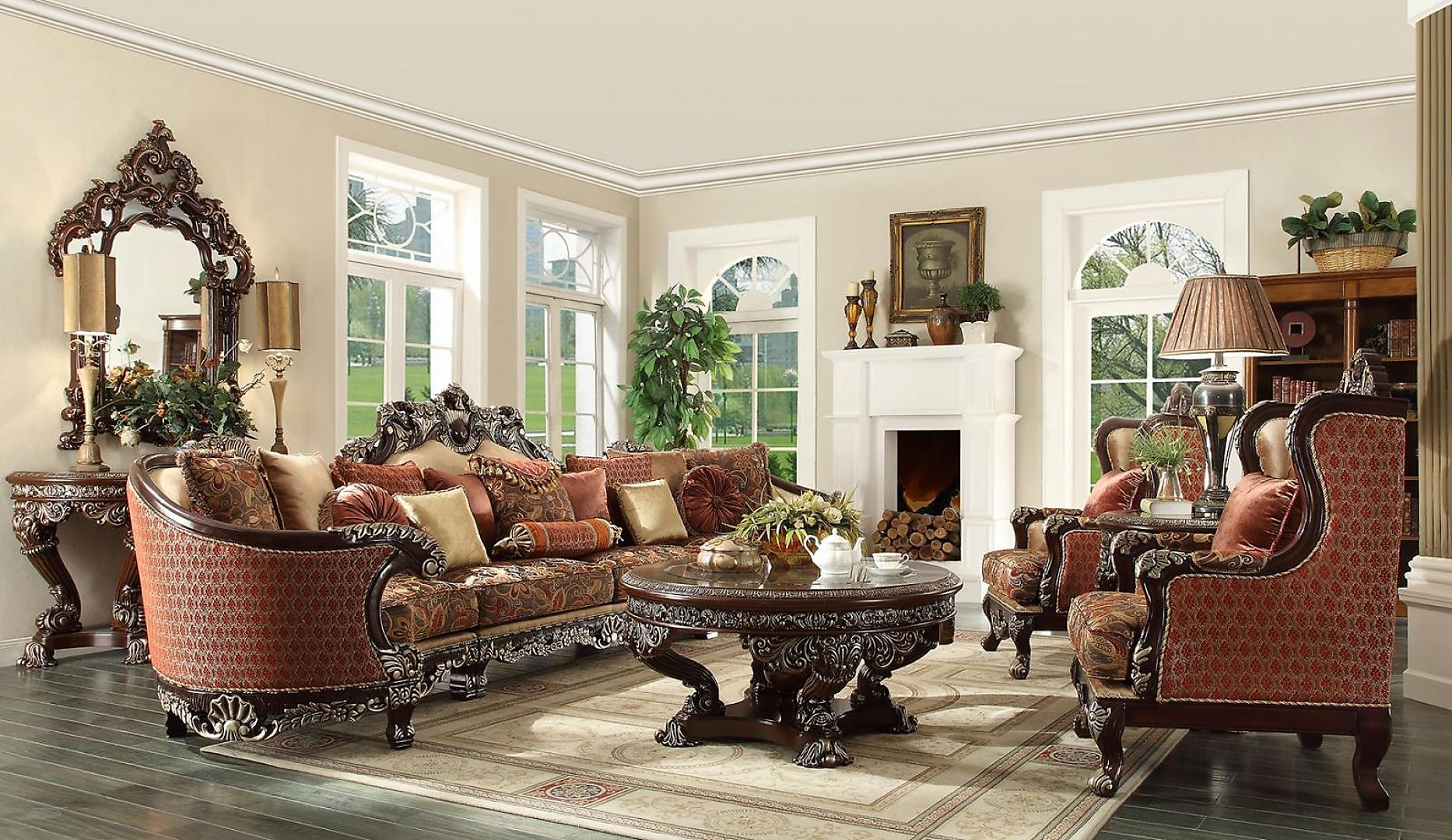 Traditional HD-111 Sectional Sofa Set 3Pcs by Homey Design