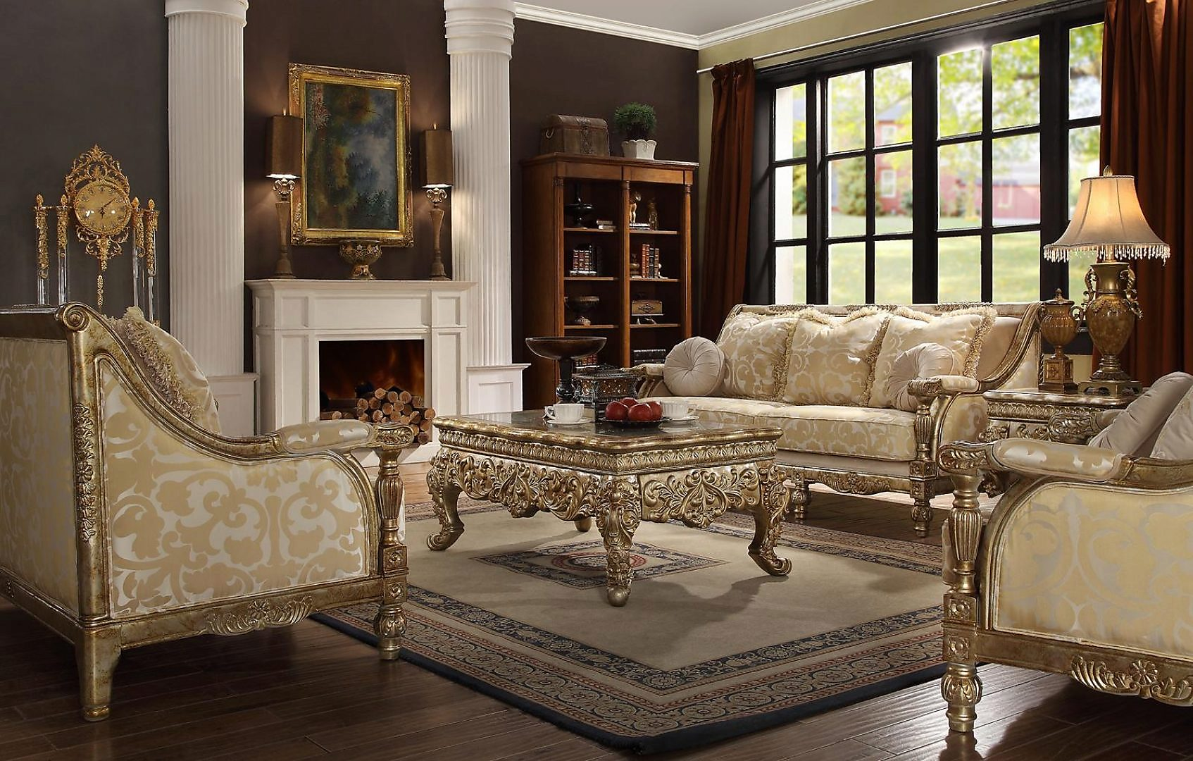 Traditional Hd-205 Sofa Loveseat Chair Coffee Table End Table 6Pcs by Homey Design