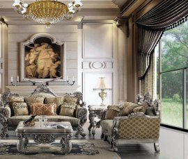 Traditional Carved Hd-272-SL Sofa and Loveseat Set by Homey Design