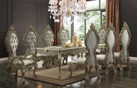 Traditional HD-13012 Champagne Dining Table Set 9 Pcs by Homey Design