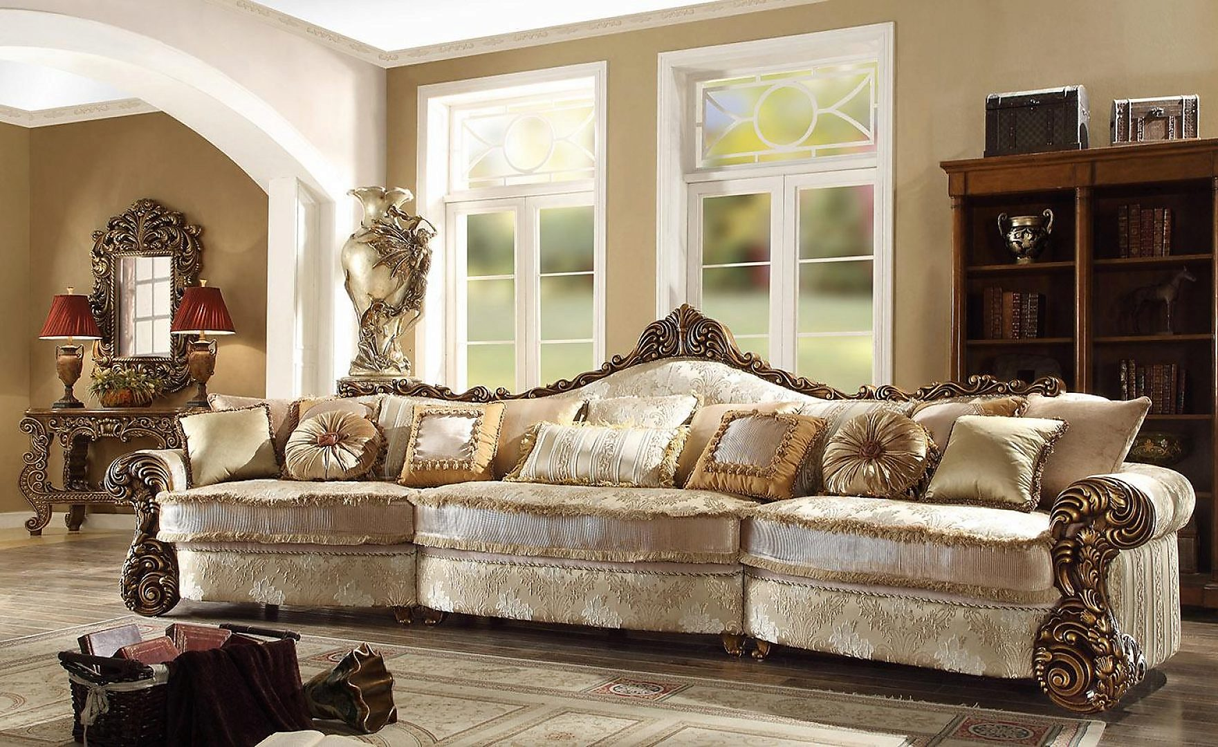 Traditional HD-1608 Sectional Sofa and Two Chairs Living Room Set 3Pcs by Homey Design