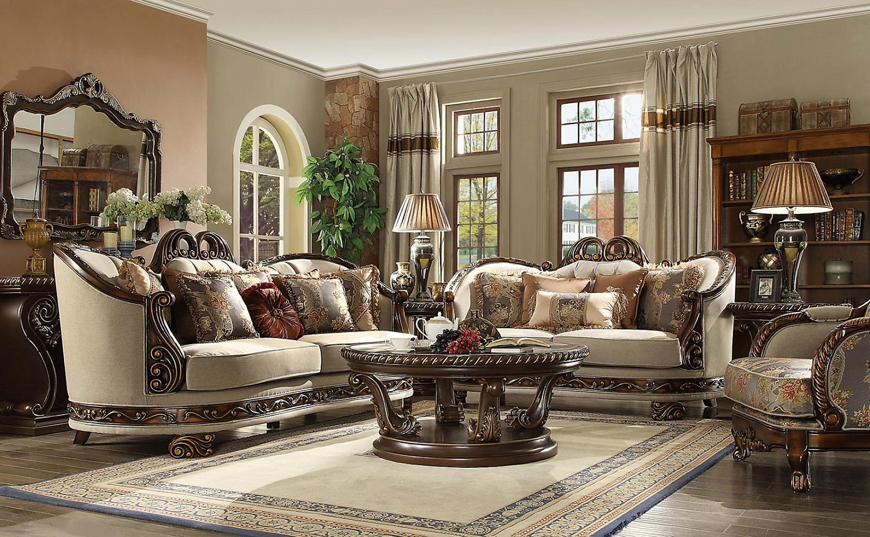 Traditional Hd-1623 Sofa Love Chair Coffee End Console Tables Mirror 7Pcs by Homey Design