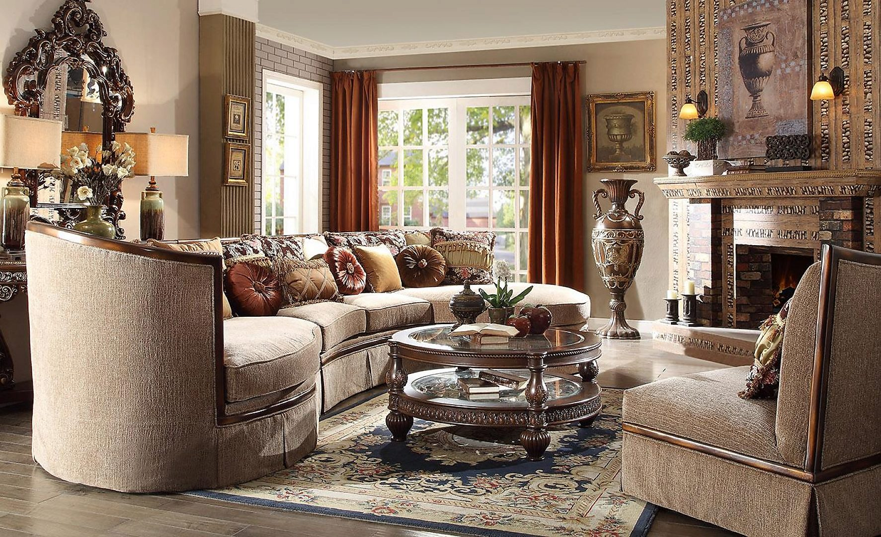 Traditional HD-1627 Sectional Sofa Set 5Pcs by Homey Design