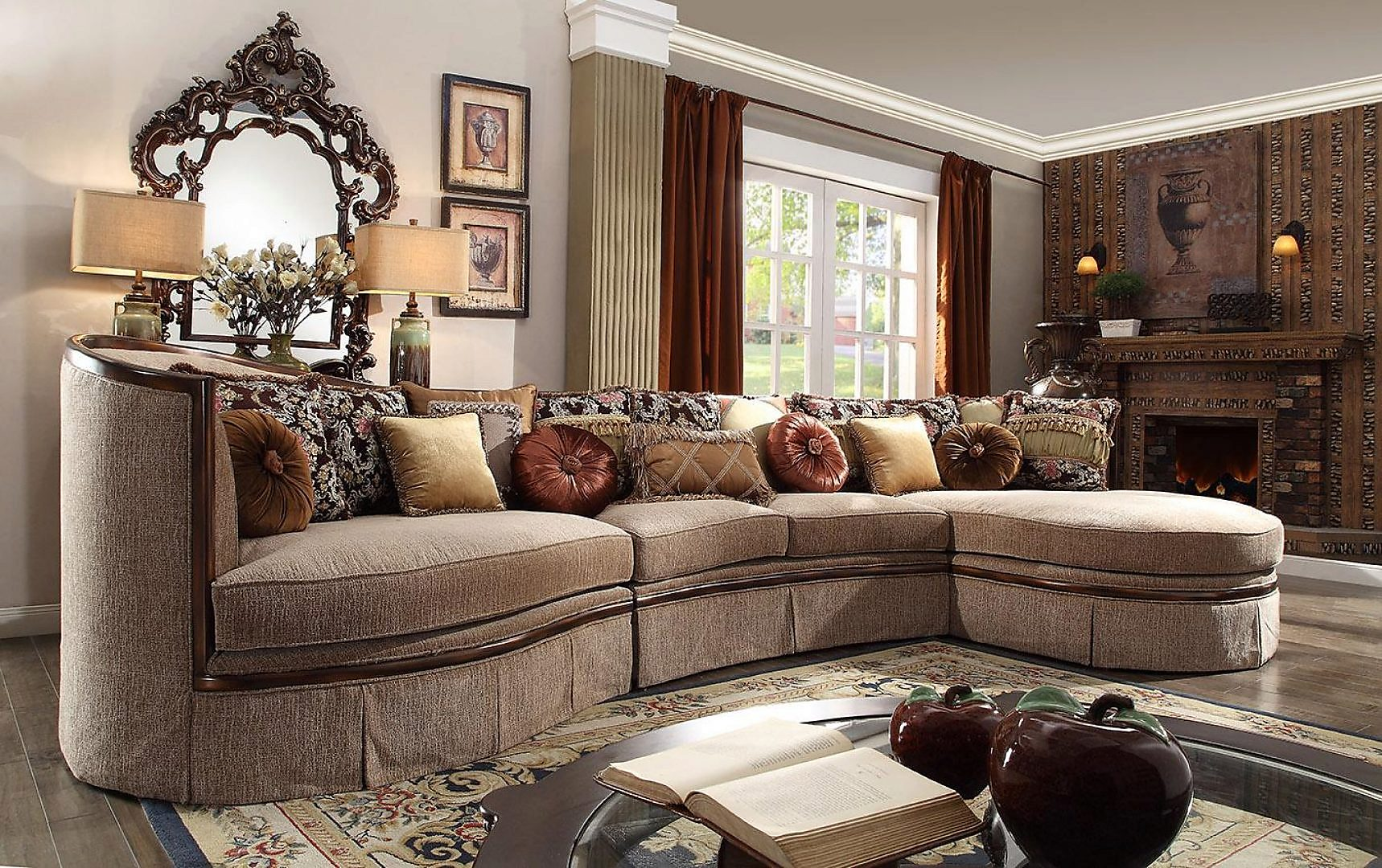 Traditional HD-1627 Sectional Sofa and Chair Living Room Set 3Pcs by Homey Design