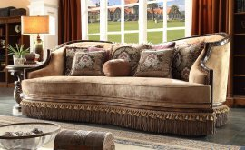 Traditional Luxury Caramel HD-1631 Loveseat in Caramel by Homey Design