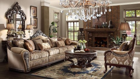 Traditional HD-1632 Sectional Sofa Set 7Pcs by Homey Design