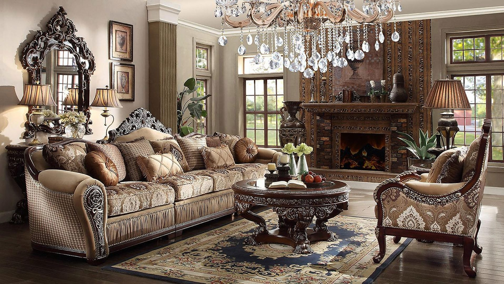 Traditional Carved HD-1632 Sofa Chair Coffee Table 3Pcs by Homey Design