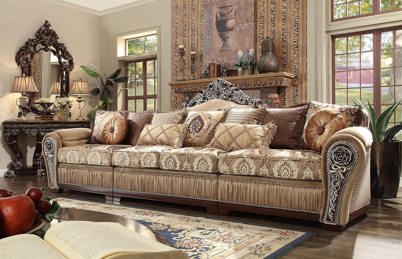 Traditional HD-1632 Sectional Sofa Set 3Pcs by Homey Design