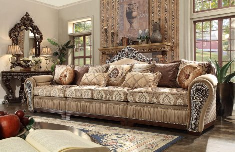 Peachy Traditional Carved Hd 1632 Sectional Sofa By Homey Design Spiritservingveterans Wood Chair Design Ideas Spiritservingveteransorg