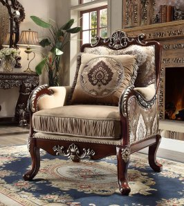 Traditional Carved HD-1632 Chair in Desert sand by Homey Design