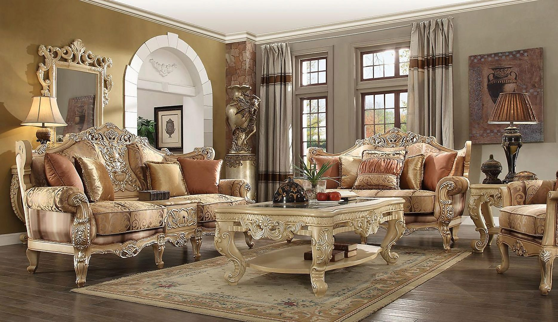 Traditional Victorian HD-1633 Sofa and Loveseat Set 2Pcs by Homey Design