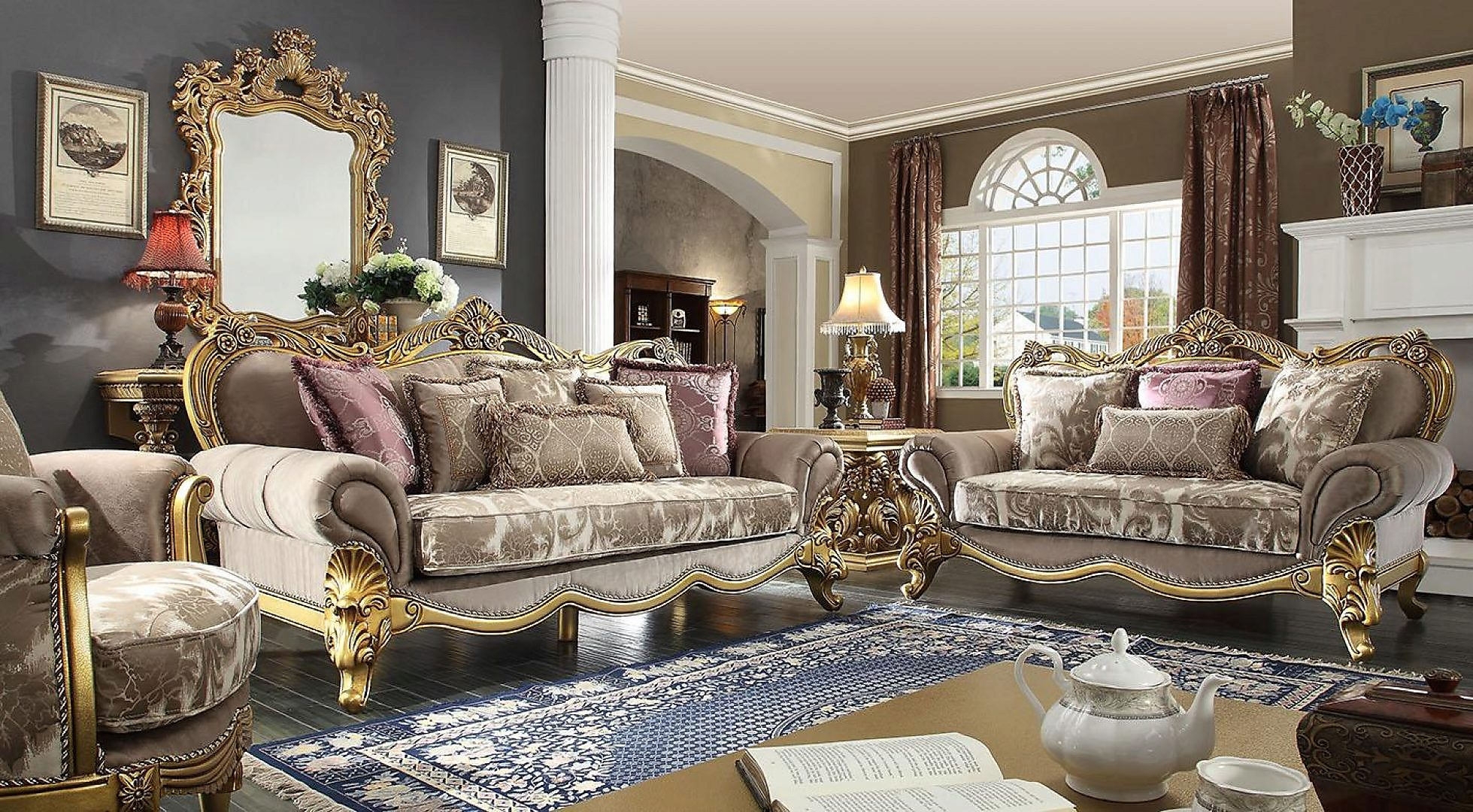 Traditional Victorian HD-1634 Sofa and Loveseat Set 2Pcs by Homey Design