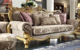 Traditional Victorian Taupe HD-1634 Sofa by Homey Design