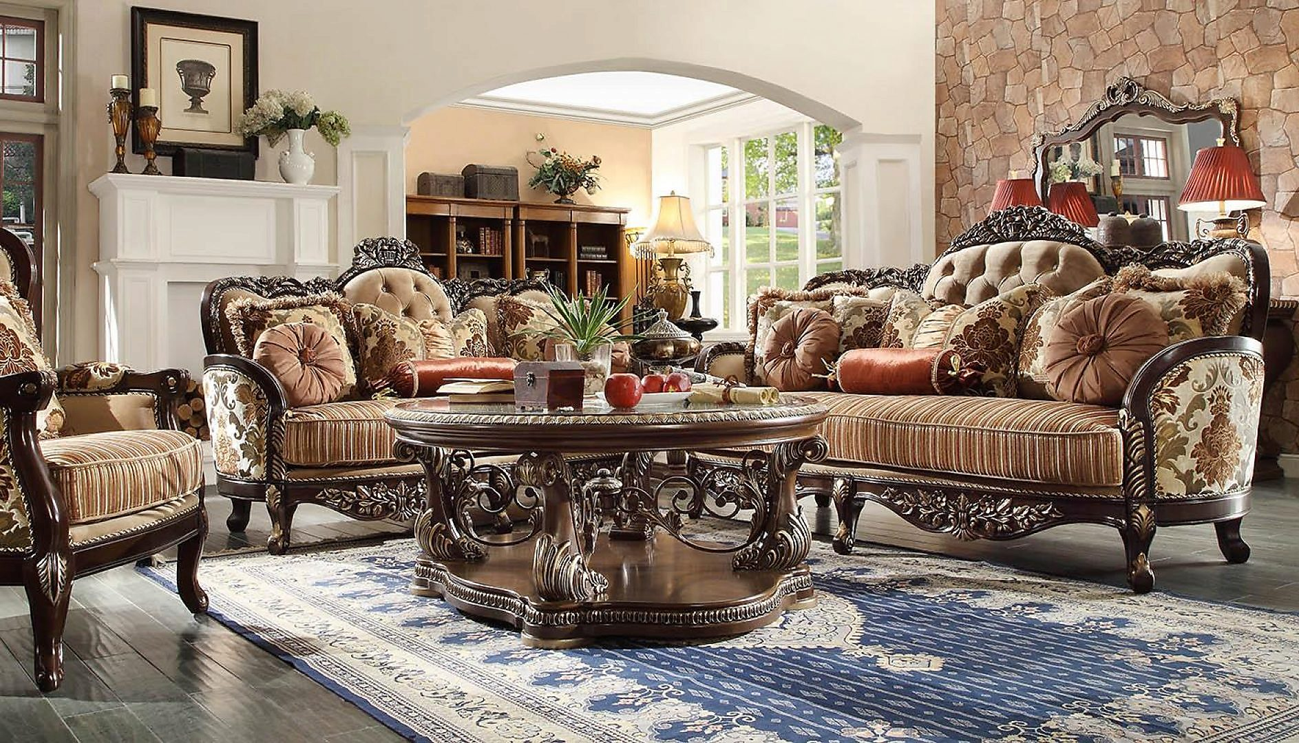 Traditional HD-1976 Sofa Loveseat Chair Coffee Table Two End Tables 6Pcs by Homey Design