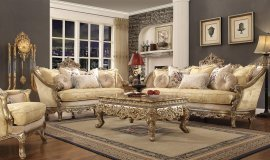 Traditional HD-2626 Sofa Loveseat Chair Coffee Table End Table 6Pcs by Homey Design