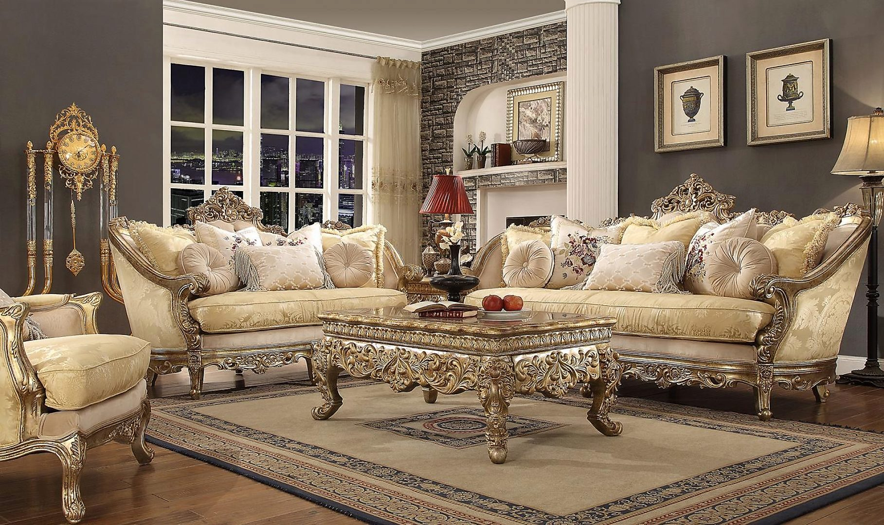 Traditional HD-2626 Sofa Loveseat Chair and Coffee Table 4Pcs by Homey Design