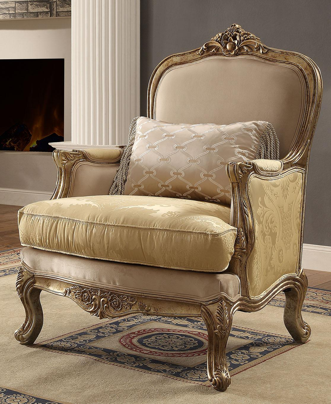Traditional Luxury HD-2626 Chair in Champagne by Homey Design