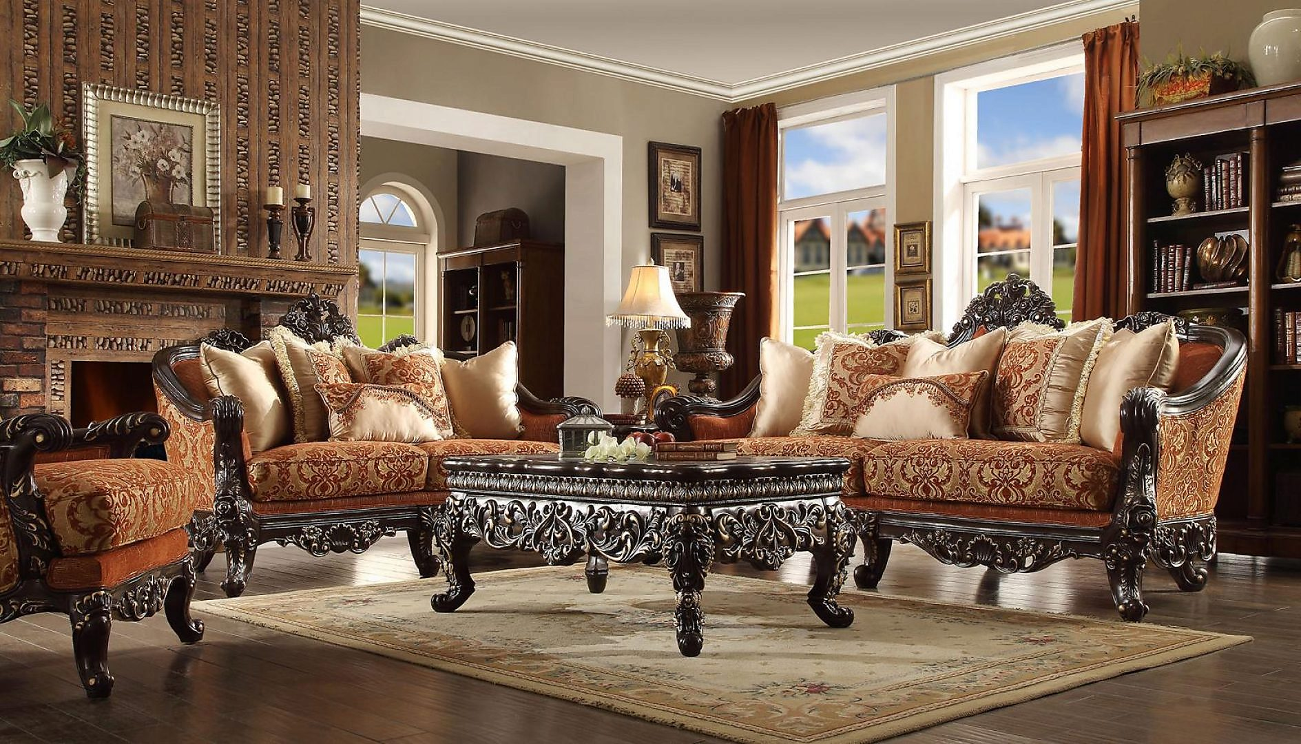 Traditional HD-2627 Sofa Loveseat Chair Coffee Table End Table 6Pcs by Homey Design