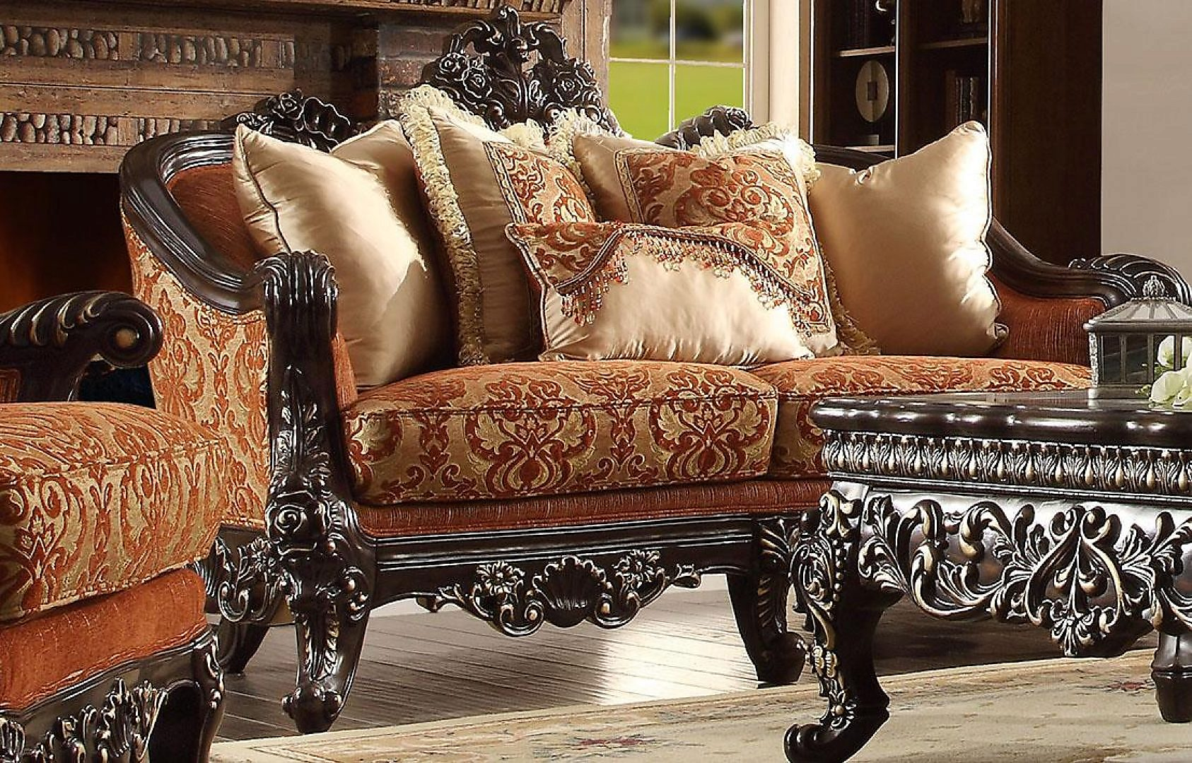 Traditional Luxury HD-2627 Embroidered Loveseat in Brown by Homey Design