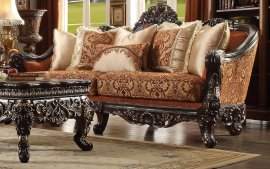 Traditional Luxury Gold HD-2627 Embroidered Brown Sofa by Homey Design