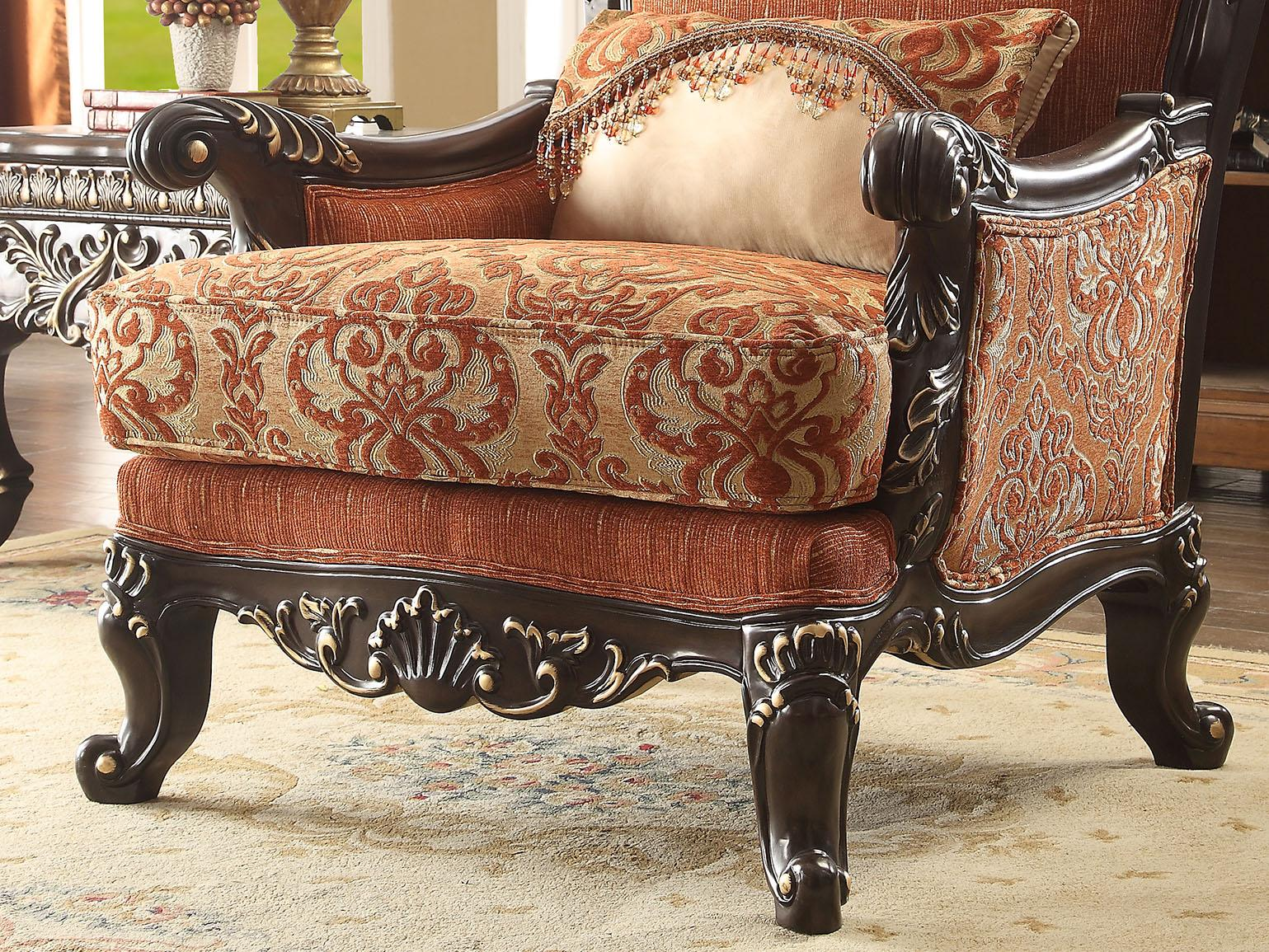Traditional Luxury Gold HD-2627 Embroidered Brown Chair by Homey Design
