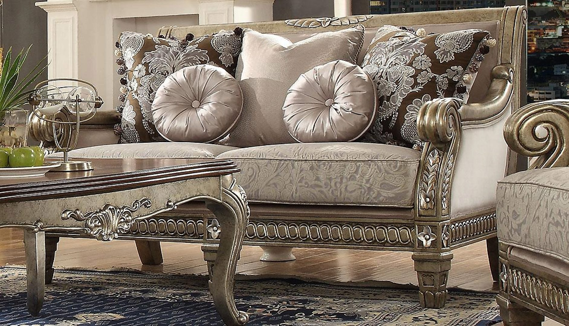 Traditional Luxury HD-303 Sofa and Loveseat Set by Homey Design
