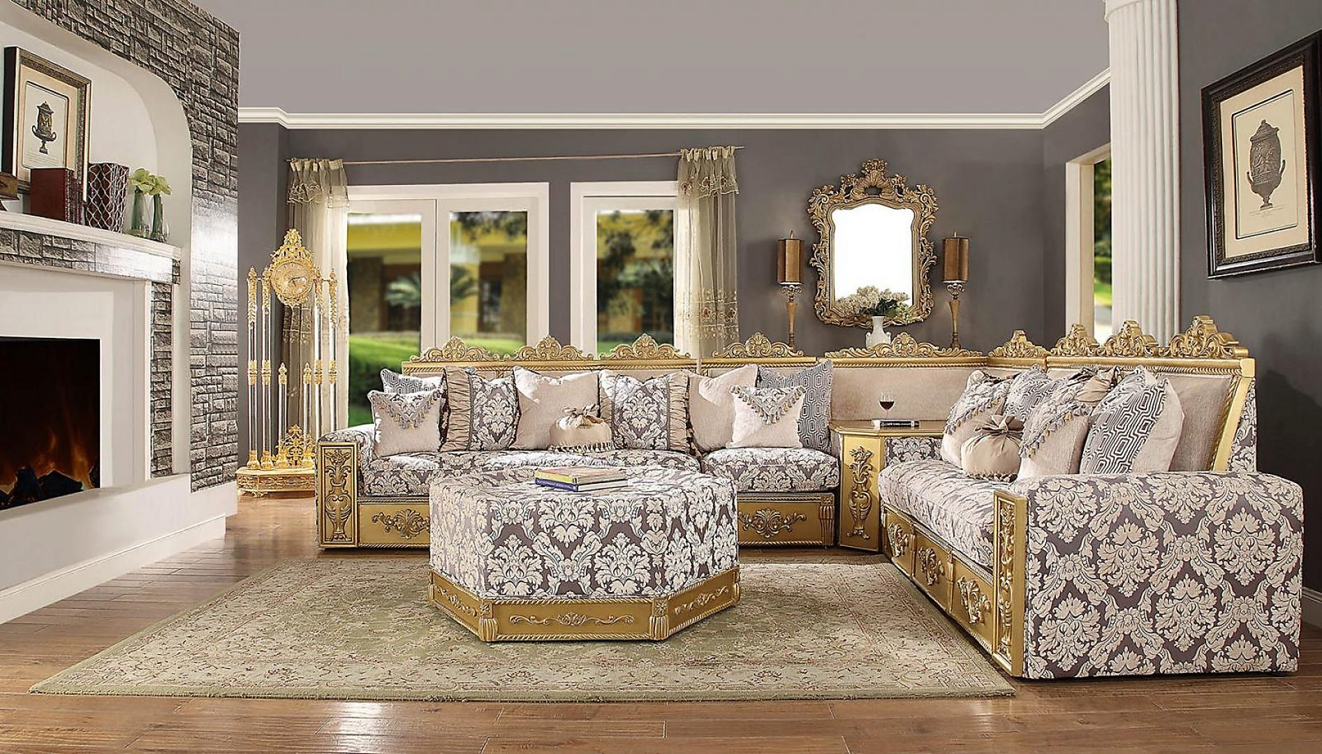 Traditional HD-459 Sectional Sofa Set 4Pcs by Homey Design