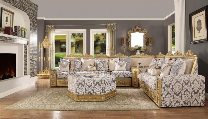 Traditional Hd 459 Sectional Sofa Set 2pcs By Homey Design