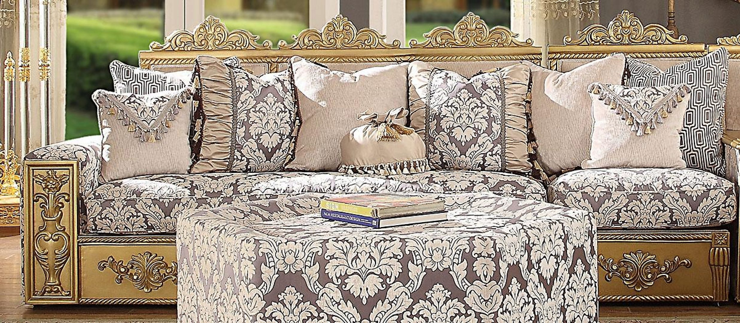 Traditional Victorian HD-459 Sectional Sofa in Gold by Homey Design