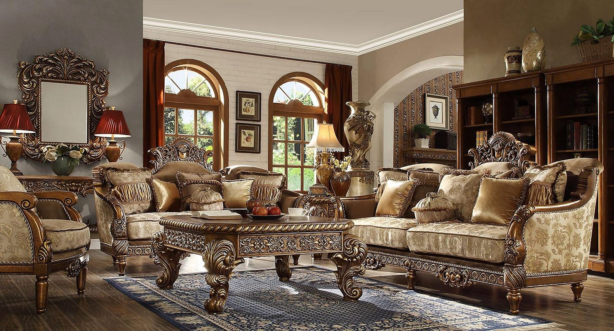 Traditional HD-610 Sofa Love Chair Coffee End Console Tables Mirror 8Pcs by Homey Design