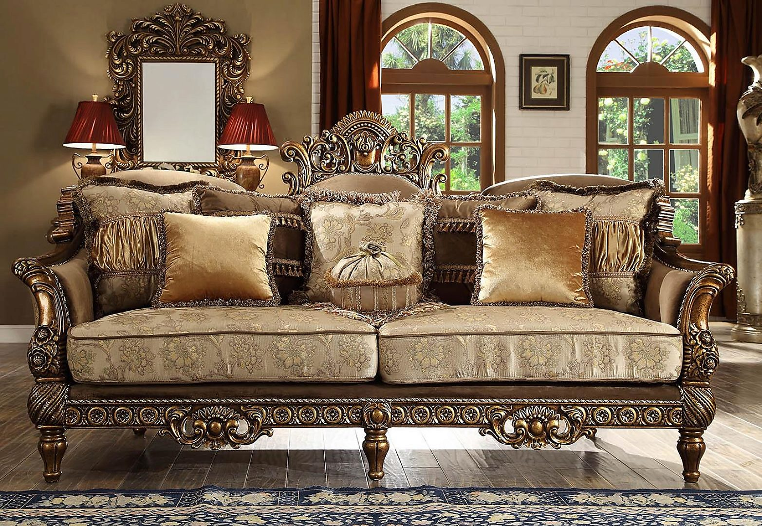 Traditional HD-610 Sofa Loveseat and Chair Set 3Pcs by Homey Design