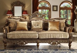 Traditional Luxury Gilded HD-610 Loveseat in Brown by Homey Design