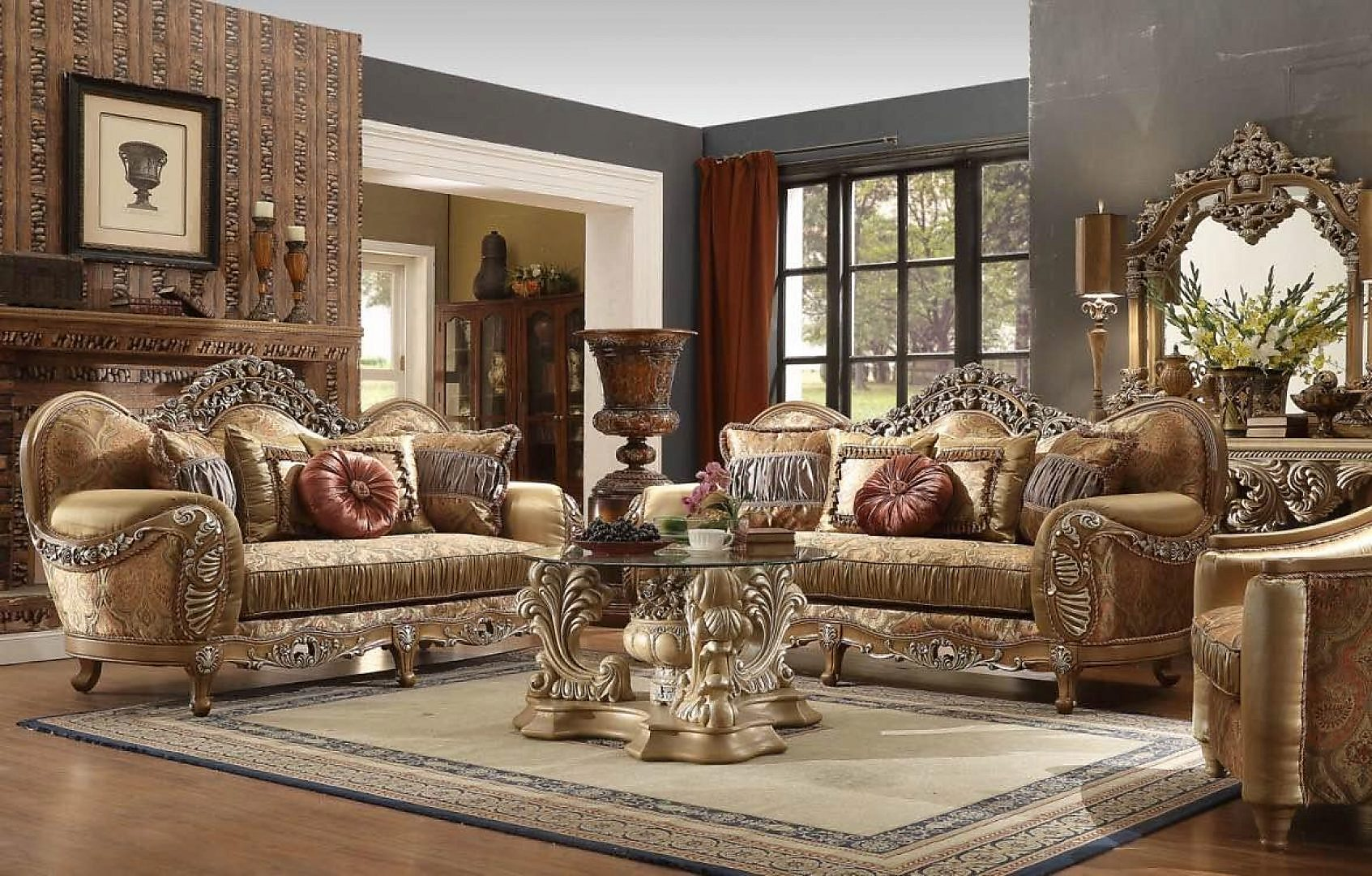 Traditional HD-622 Sofa Love Chair Coffee End Console Tables Mirror 8Pcs by Homey Design